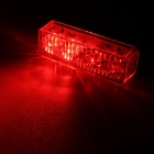 MZ 12W White + Red 4-LED Car Flashing Warning Lamp - Black (12~24V)