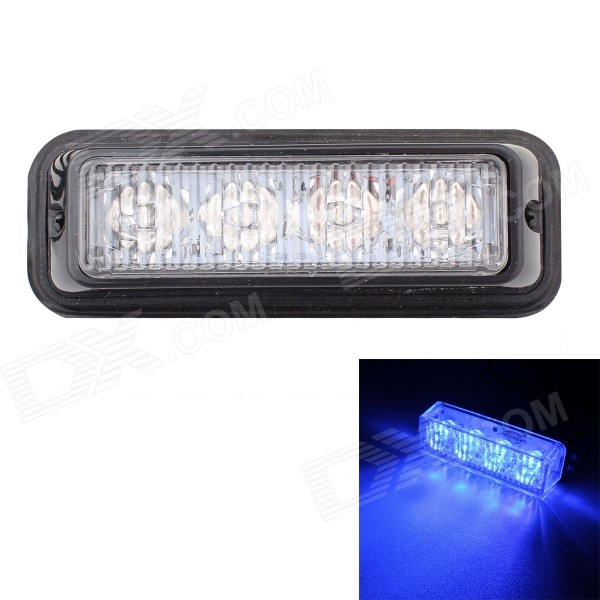 MZ 12W Blue 4-LED Car Flashing Warning Signal Lamp - Black (12~24V)