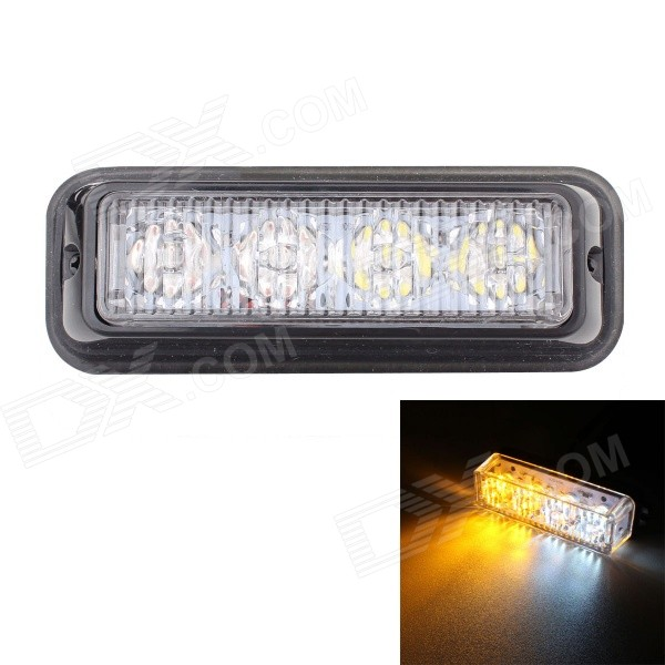 MZ 12W White + Yellow 4-LED Car Flashing Warning Signal Lamp (12~24V)