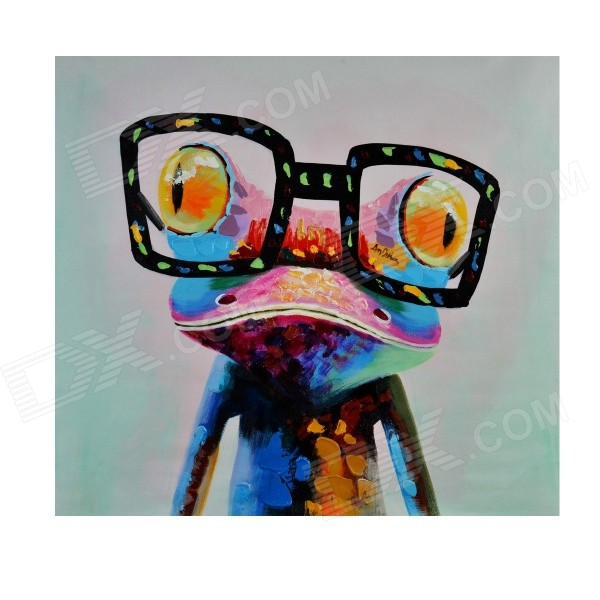 Amimal Oil Painting Hand Painted Mr. Frog Wearing Glass Oil Painting