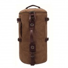 Outdoor Travel Cylinder Canvas Backpack Single Shoulder Bag Handbag - Coffee + Chocolate Color