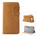 MO.MAT High Quality Leather Wallet Style Flip Open Case w/ Card Slots for Samsung Galaxy S6 - Brown