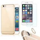 Protective TPU Back Case + Tempered Glass Protector + Lens Guard Ring Set for IPHONE 6 PLUS - Golden