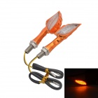 DIY Wired 1W 12-LED Motos Steering lâmpada luz amarela 585 nm 60lm - Orange (12V / 2pcs)