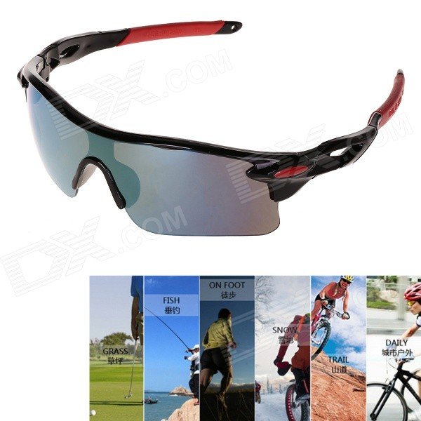 UV Protection Anti-Explosion Blue REVO Sports Sunglasses - Red + Black