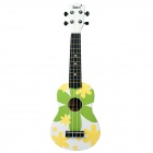 "IRIN 21"" Hawaiian Patterned Wooden Ukulele Guitar String Instrument - Green + White + Yellow"