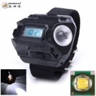 "ZHISHUNJIA Z8 Portable XP-E Q5 Wrist Lamp Flashlight w/ Digital 1"" LED Watch Function - Black"