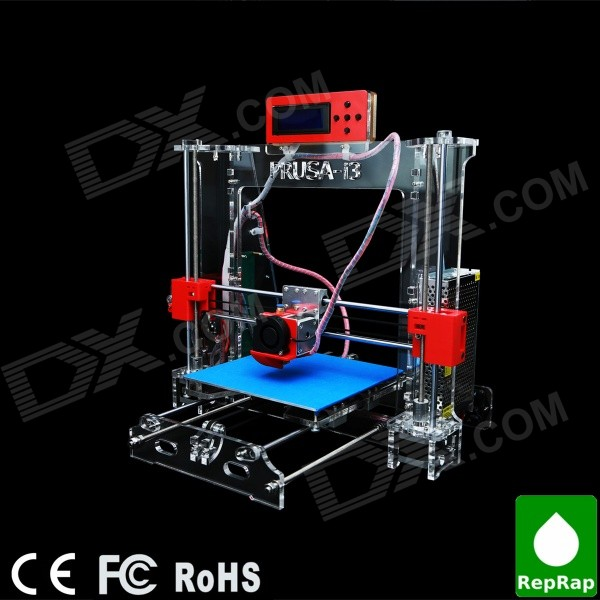 Prusa-I3 acrylkader 3D printer (1.75mm filament / 0.4mm nozzle)