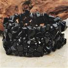 Trendy Black Onyx Wide Stretch Bracelet