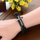 Unisex Adjustable Cross Style Top Layer Cow Leather Bracelet - Black