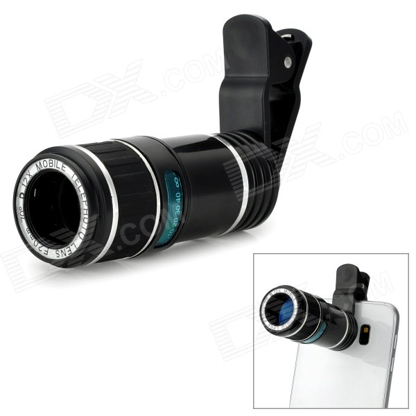 Universal 12X Long-Focus Telephoto Lens w/ Clip - Black + Silver