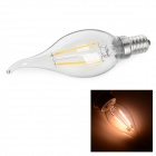 E14 4W LED Filament Bulb Warm White 2700K 166lm - Transparent + Silver (AC 220V)