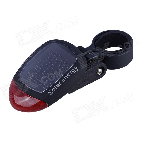 3-Mode 2-LED Solar Power Red Bicycle Tail Warning Light - Black + Red