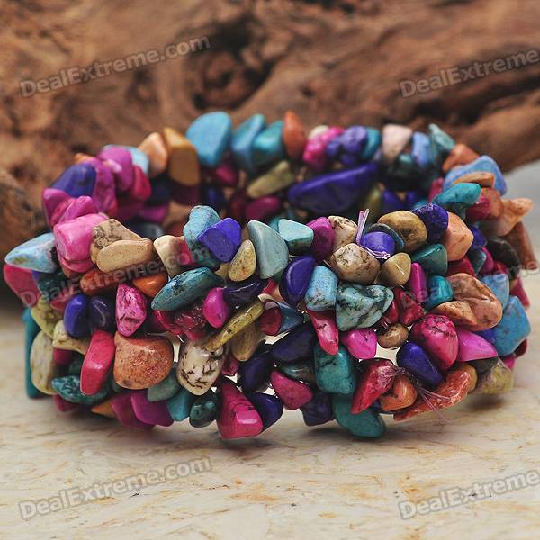 Rainbow Turquoise Wide Stretch Bracelet