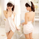 Women's Sexy V-Neck Low-Cut Halter Blended Spandex Babydoll Lingerie Nightwear Sleepwear - White