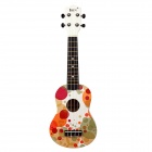 "IRIN 21"" Hawaiian Bubbles Pattern Wooden Ukulele Guitar String Instrument - White + Multicolored"