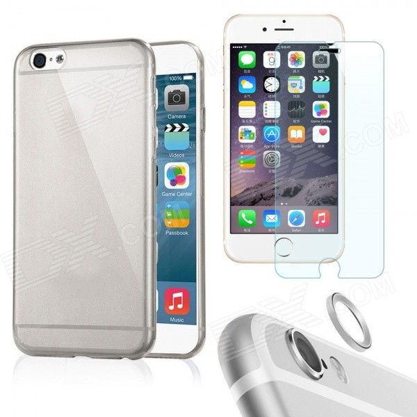 Case + Tempered Glass Film + Lens Guard Ring for IPHONE 6 Plus - Grey