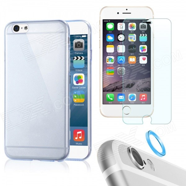 Case + Tempered Glass Film + Lens Guard Ring for IPHONE 6 Plus - Blue