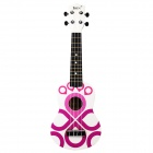 "IRIN 21"" Hawaiian Chinese Knot Pattern Wooden Ukulele Guitar String Instrument - White + Purple"