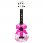 "IRIN 21"" Hawaiian Patterned Wooden Ukulele Guitar String Instrument - Pink + White"