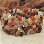 Fancy Indian Agate Gemstone Wide Stretch Bracelet