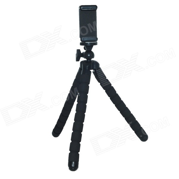 Universal Adjustable Tripod Stand Holder for Cell Phone - Black