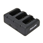 DUALANE 3-Port USB Battery Charger for GoPro Hero 4 / 3+ / 3 - Black
