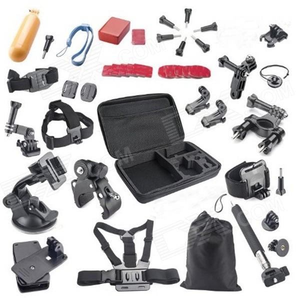 40-in-1 Sports Camera Accessory Kit for GoPro, SJ5000, XiaoYi - Black