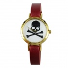 Women's Skeleton Style PU Band Quartz Analog Wrist Watch - Red (1 x 377)
