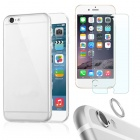 Protective TPU Back Case + Tempered Glass Protector + Lens Guard Ring for IPHONE 6 - Transparent