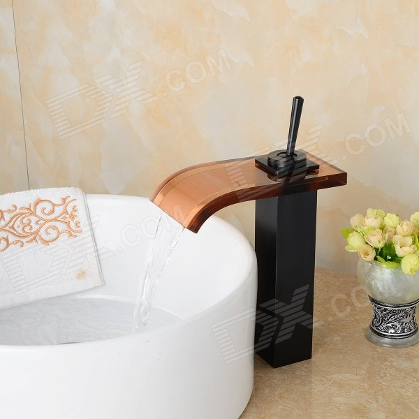 ORB Bathroom Waterfall Sink Fauce - Translucent Brown + BlackBath Faucets<br>Form ColorTranslucent brown + blackModelYDL-F-0622MaterialBrass + glassQuantity1 DX.PCM.Model.AttributeModel.UnitFinishChromeFaucet Spout MaterialGlassFaucet Body MaterialBrassFaucet Handle MaterialZinc AlloyStyleContemporaryOther FeaturesInstallation type: vertical; Waterfall tap; With one installation hole and one switch; Valve type: ceramic; Standard 1/2 thread; Spout height: 19cm; Spout width: 9.8cm; Spout length: 14cm;<br>Handle length: 6.5cmPacking List1 x Faucet2 x  Hoses (50cm)1 x Rubber sheet1 x Horseshoe tablet2 x Screw rods1 x O-ring<br>