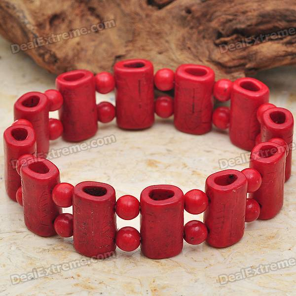 Trendy Red Coral Beads Bracelet