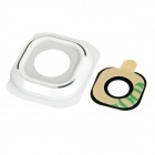 Camera Lens Frame Cover + Lens Ring Sticker Set for Samsung S6 - White