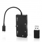 Micro USB 5-Pin to USB 2.0 OTG Charge HUB + TF / SD Card Reader for Smartphone / Tablet - Black