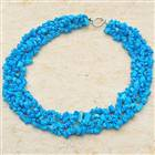 Russian Blue Turquoise Wide Necklace 18""