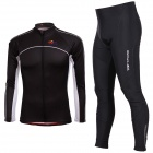 TOP CYCLING Men's Cycling Polyester + Spandex Long Sleeves Jersey + Silicone Cushion Pants Set (XL)