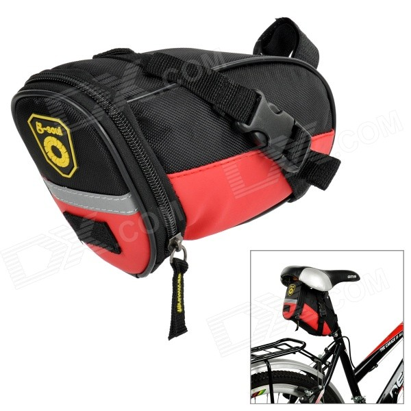 B-SOUL Outdoor Cycling Bike Zippered Saddle Bag w - Black + Red