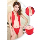 Ultra Sexy One-Piece Sling-Up Halter Lingerie Suit for Women - Red