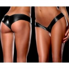 Elastic Sexy PU Leather Nightclub Panties - Black