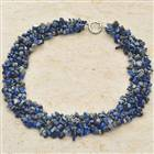 Lapis Lazuli Gemstone Wide Necklace 18""