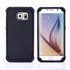 Football Skin Pattern Protective TPU + PC Back Case w/ Stand for Samsung Galaxy S6 - Black