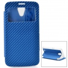 Protective PU + TPU Flip-Open Case w/ Front Window for Samsung i9200 / i9208 - Blue