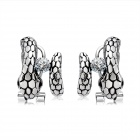 Women's Unique Water Snake Style Crystal Inlaid Alloy Ear Studs Earrings - Antique Silver (Pair)