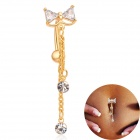 Women's Bowknot Style Rhinestone Pendant Navel Ring Nail Body Piercing - Golden