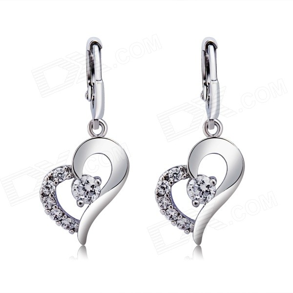 Women's Shiny Heart-Shaped Zircon + Copper Earrings - Silver (Pair)