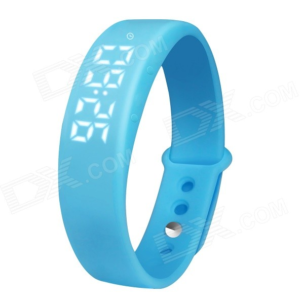 USB LED Smart Bracelet w/ 3D Pedometer, SCalorie Counter - Blue