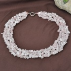 Lovely Rose Quartz Gemstone Wide Necklace 18""
