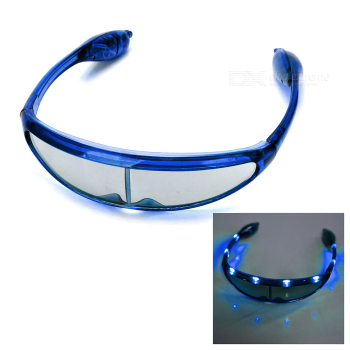 Universele Cool partij-Concert PET 8-LED blauw licht 3-Mode bril Blue (3 x AG13)