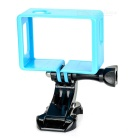 Protective Camera Frame Holder + J-Base + Long Screw for SJCAM SJ4000 / SJ6000 - Black + Blue