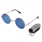 Color-Focus Outdoor Sports Anti-explosion Resin Lens Sunglasses w/ Clip - Black + Blue + Silver